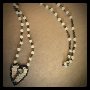 Pearl rosary Key to my Heart Necklace handmade
